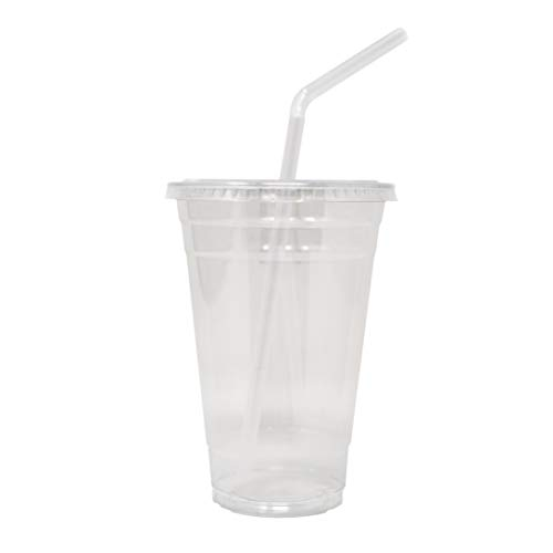 EDI 100 Sets Plastic CRYSTAL CLEAR Cups with Flat Lids and STRAW for Cold Drinks (20 oz)