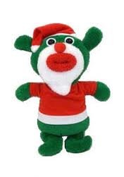 SingAMaJigs Plush Doll Christmas Figure GREEN with Santa Suit Jingle Bells - Lo Mas Santa