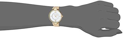 Anne Klein Women's Gold-Tone and White Zebra Patterned Bangle Watch, AK/3532WTZE