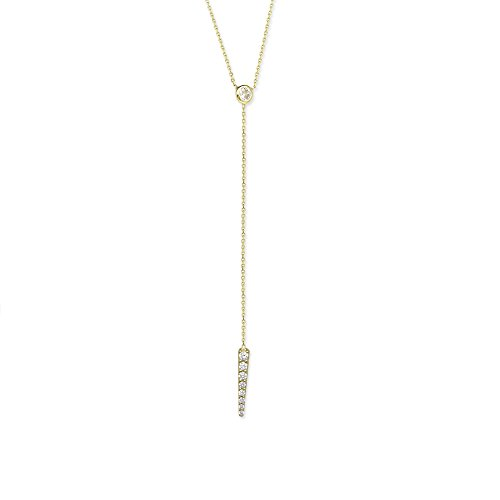Y-style Lariat Necklace with Cubic Zirconia Adjustable Length 14k Yellow Gold by AzureBella Jewelry