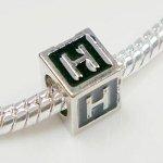 Buckets of Beads Enamel Letter Charm Bead, Monogram H, (Heart Black Letters Charm)
