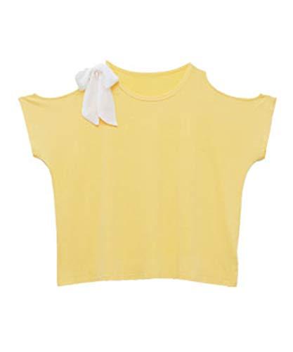 (ハッピーマリリン) お肌を守る 嬉しい7つの機能!! UV?接触冷感 天竺肩開き リボンドルマンスリーブ 半袖 Tシャツ 【431405】