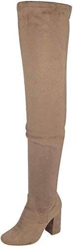 Nature Breeze Elantra 01 Womens Stretchy Thigh High Chunky Heel Suede Boots Black 9