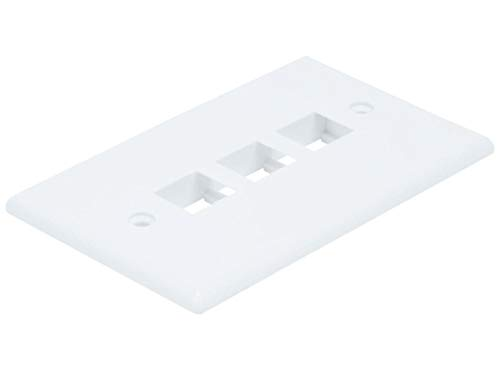 3-Hole 1-Gang Keystone Wall Plate - White