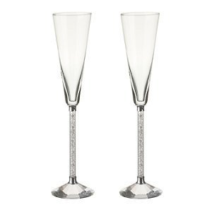 Oleg Cassini Crystal Diamond Toasting Flutes -Set of 2