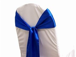 chair sashes bow sash for wedding and Events Supplies Party Decoration chair cover sash -Royal Blue (Royal Blue Chair)