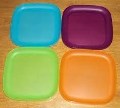 Tupperware 8 Inch Square Plates 4 Colors