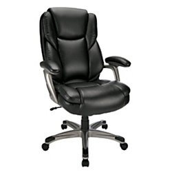 Realspace(R) Cressfield High-Back Bonded Leather Chair, Black/Silver by Realspace