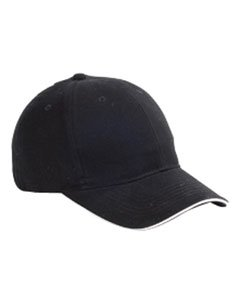 Big Accessories 6-Panel Twill Sandwich Baseball Cap (BX004)- Black/White,One Size