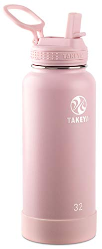 Takeya 51241 Actives Insulated Stainless Steel Bottle w/Straw Lid, 32oz Blush (Best Water Bottle With Straw)