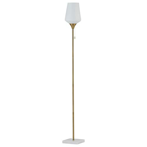 Rivet Harper Mid-Century Modern Living Room Standing Floor Lamp With Light Bulb - 8.5 x 8.5 x 71 Inches, White Marble and Brass