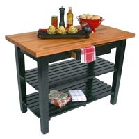 John Boos Black Base Cream Finish Red Oak Finger Jointed Top C Table, 48 x 25 x 1.5 inch - 1 each. ()