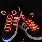 Waterproof LED Flashing Light Up Red Light Shoelace (White)