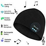 Bluetooth Hat Beanie Men Women, Wireless Music Hat with Built-in Stereo Speakers Fit for Outdoor Sports, Christmas Black