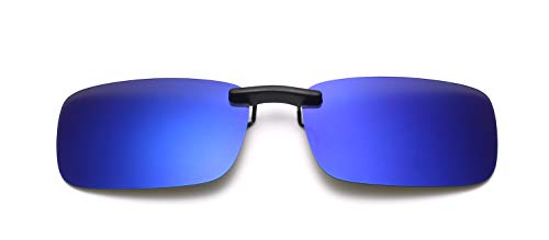 Clip on Sunglasses Polarized Flip Up Metal Clip Sunglasses Driving UV400 (Blue-Sunglasses)