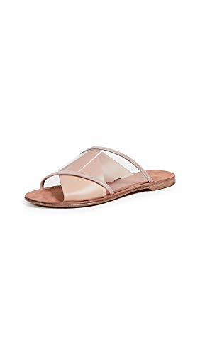 Diane von Furstenberg Women's Bailie 4 Crisscross Slide, Powder, Tan, Clear, 8.5 M US