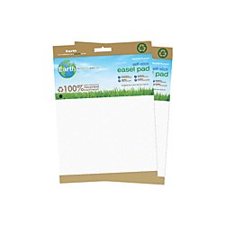 MasterVision Earth Self-Stick Easel Pad, 25x35.5 Inch, White Unlined, 2-Pack (FL1218207) by MasterVision
