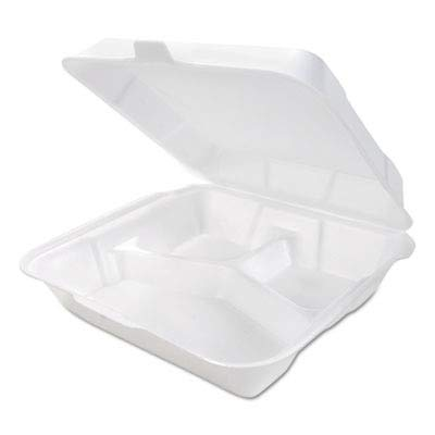 Genpak SN320 White 3 Compartment Medium Snap It Foam Hinged Lid Dinner Container (Case of 200) ()