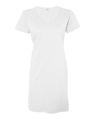 LAT Ladies' 100% Cotton Jersey Short Sleeve V-Neck Swim Cover-up Dress