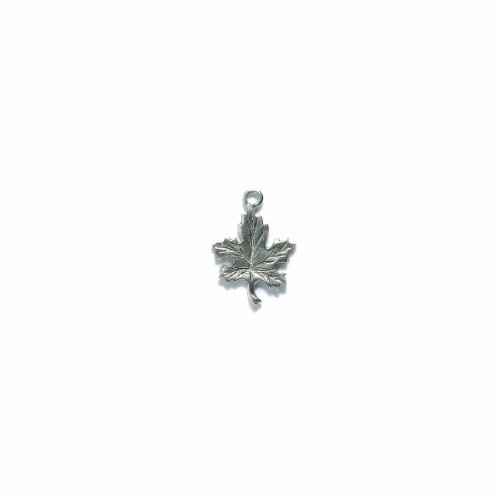 Shipwreck Beads Pewter Maple Leaf Charm, Silver, 15 by 21mm, 3-Piece ()