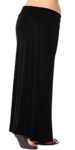 Popana Womens Casual Long Convertible Maxi Skirt Plus Size - Made In USA Black 2X by Popana (Image #2)