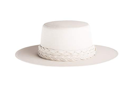 (The Palm Springs White Gambler Hat Stiff Brimmed Matching Double Braided Wrapped Hat)