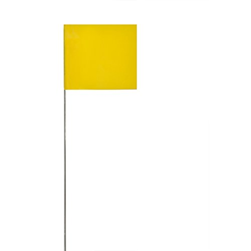 (Swanson FY15100 2-Inch by 3-Inch Marking Flags with 15-Inch Wire Staffs, Yellow 100-Pack)