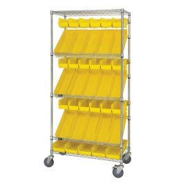 Unit Mobile Dispensing (Quantum Storage Systems WRCSL5-63-1836EP 5-Tier Slanted Wire Shelving Suture Cart, Enclosed, 2 Horizontal and 3 Slanted Shelves, Chrome Finish, 69