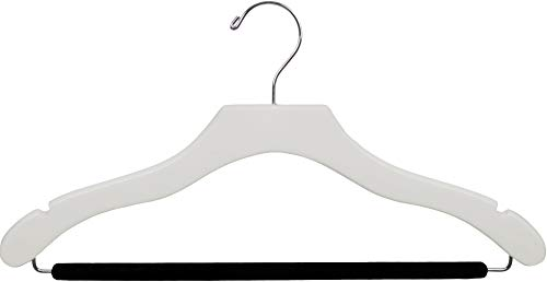 The Great American Hanger Company Wavy White Wood Suit Hanger w/Velvet Non-Slip Bar, Box of 100 Space Saving 17 Inch Flat Wooden Hangers w/Chrome Swivel Hook & Notches for Shirt Dress or Pants by The Great American Hanger Company (Image #3)