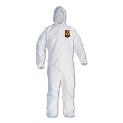 KCC46115 - Kleenguard A30 Elastic-Back amp; Cuff Hooded Coveralls, White, 2X-Large