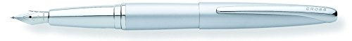 (Cross ATX, Matte Chrome, Fountain Pen, with Polished Chrome Plated Appointments and Stainless Steel Nib Medium (886-1MS) )