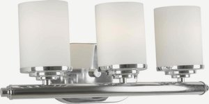 Bath Bracket Forte Lighting - Forte 5105-03-05 Three Light Bath Bracket, Chrome Finish Satin Opal Glass