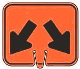 (Down Left & Down Right Arrows - Snap-on traffic cone sign, Material=Plastic Sign)