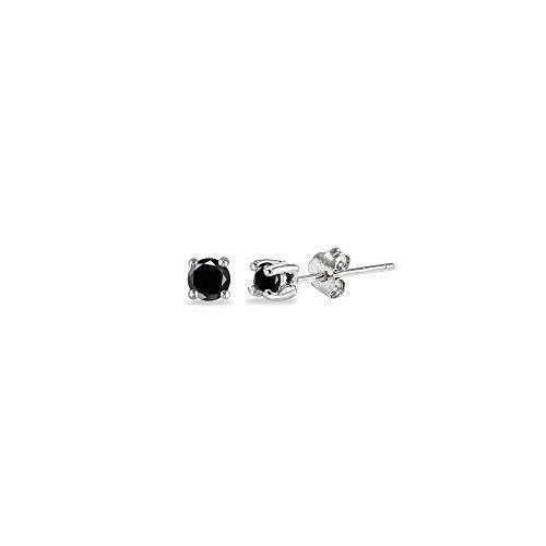 Sterling Silver Black Cubic Zirconia 2mm Round Stud Earrings
