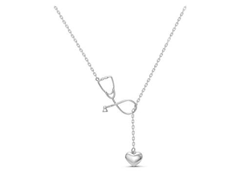 Smiling sunflower Stethoscope Pendant Necklace, Cardiac Stethoscope Pendant Gifts for Doctors and Medical Students-Silver (Best Stethoscope For Medical Students 2019)