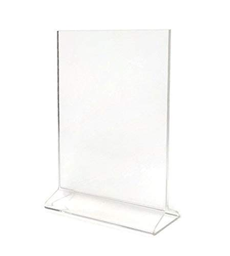 (Pack of 6) Cristil 5x7 Acrylic Menu Holder/Upright Sign Holder/Clear Table Card Display/Plastic Photo Frame/Wedding Picture Stand