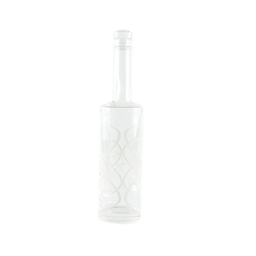 Di Potter BO101 Decorative Glass Bottle with Screen Printed Scroll and Crystal Stopper, 750 mL Capacity, White
