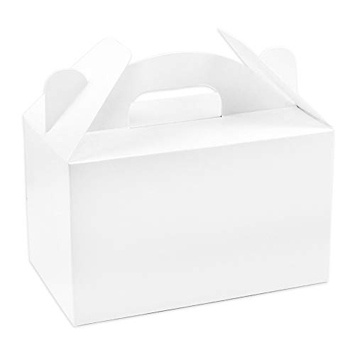 Moretoes 30pcs Treat Boxes Party Favor Boxes White Paper Gable Gift Boxes for Birthday Shower 6 x 3.5 x 3.5 Inches (Boxes Small White Treat)
