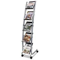 ** Narrow Mobile Literature Display, 30 3/4w x 5 1/2d x 37 1/2h, Chrome/Black
