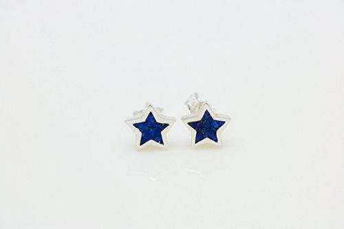 Star-shaped Lapis Lazuli Micro Mosaic Sterling Silver Stud Earrings, Semi Precious Gemstone by Handmade Studio HS4545 - Lapis Lazuli Tiles