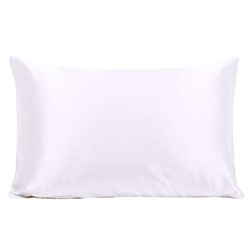 Ravmix 100% Pure Mulberry Slip Silk Pillowcase Standard Size 21 Momme 600 Thread Count Hair Skin Hidden Zipper, Hypoallergenic Soft Breathable Both Sides Silk Pillow Case, 20×26inch, White ()
