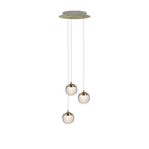 Galaxy 3 Mini Pendant Crystall Ball Lighting Brass - LED Hanging Light Fixture for Kitchen Island, Bar, Foyer - Cluster Pendants - Dimmable, Adjustable Wire, Lamp Bulb Included