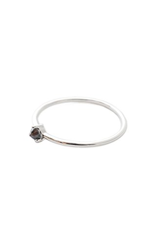 HONEYCAT Black Iron Ore Crystal Point Ring in Sterling Silver Plate | Minimalist, Delicate Jewelry (S, 7)