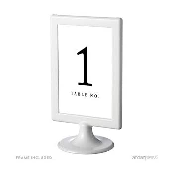 Amazon.com: Andaz Press Framed Double-Sided Table Numbers 1-8, White ...