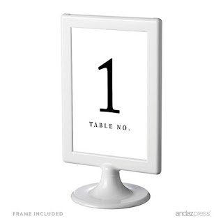 Amazoncom Andaz Press Framed Double Sided Table Numbers 1 8 White