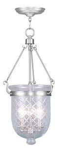 (Livex Lighting 5074-91 Jefferson - Three Light Chain Hanging Lantern, Brushed Nickel Finish with Clear Diamond Glass)
