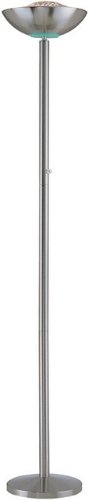 (Basic Polished Steel Finish Engineer Halogen Torchiere Floor Lamp)