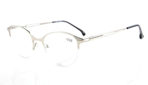 Eyekepper Quality Spring Hinges Half-Rim Cat-eye Style Reading Glasses Silver - Reading Rims Silver