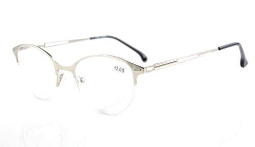 Eyekepper Quality Spring Hinges Half-Rim Cat-eye Style Reading Glasses Silver - Eye Glasses Style Cat