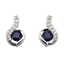 Tourbillon Or Blanc 9ct Saphir Bleu et Diamant Boucles d'oreilles